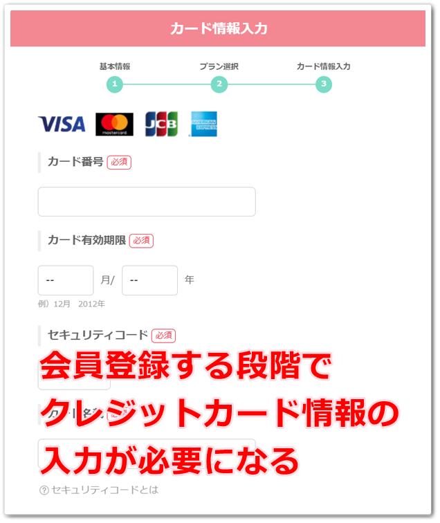 クレジットカード情報の登録