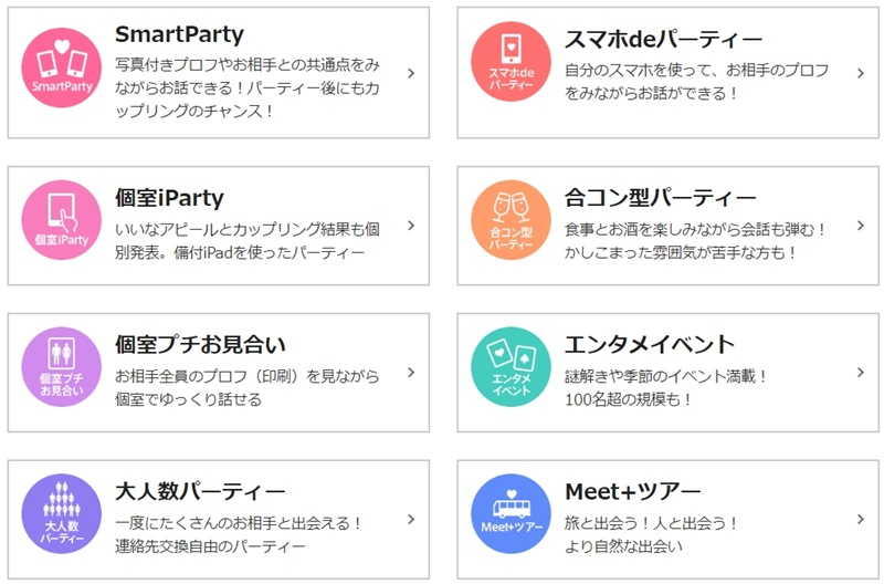PARTY☆PARTYのパーティの種類2